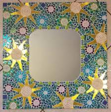 custom made mosaic mirror aqua large handmade stained glass