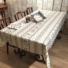 french provincial tablecloth coated tablecloths round french tablecloths blue poppy cotton front view country coated