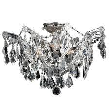 flush mount crystal chandelier. Bayou 6-Light Chrome With Clear Crystal Ceiling Light Flush Mount Chandelier N