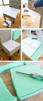 tutorial showing how to make affordable custom chair cushions for dining chairs