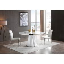 modrest cabaret modern white round dining table