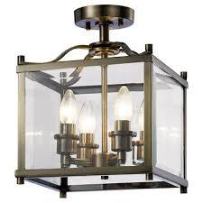 4 light lantern modern brass