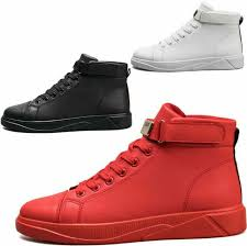 Mens Boys Leather Lace Up High Top Running Sneakers Athletic Sports Skate Shoes