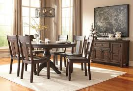 adams 7pcs new traditional dining room brown round oval table wood chairs set