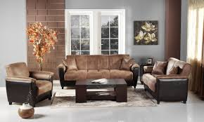Two Loveseats In Living Room Aspen Storage Sleeper Sofa In Two Tone Mocha Microfiber By Sunset