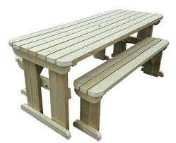 details about wooden picnic table and bench set outdoor garden furniture yews compact rounded