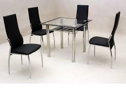 small square clear black gl dining table and 4 chairs set