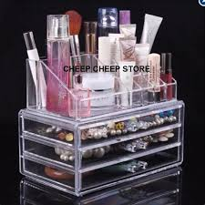 acrylic cosmetic organizer drawer 4 tier makeup jewelry storage display rack clear stand box conner lipstick
