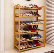 shoe organizer furniture. Image Is Loading New-6-Tier-Natural-Wood-Bamboo-Shelf-Entryway- Shoe Organizer Furniture N