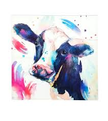 cow painting on canvas watercolor cow painting print on canvas standard painting canvas sizes in cm