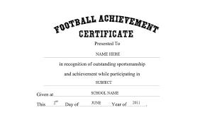 Achievement Certificate Football Achievement Certificate Free Templates Clip Art Wording