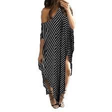 Walmart Womens Size Chart Womens Round Neck Striped Irregular Long Maxi Dress