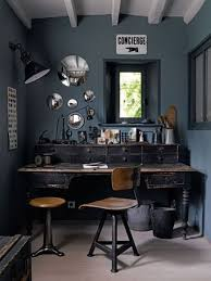 vintage industrial desk, hubcaps on wall. Great for teen boy room is  creative