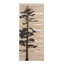 kate and laurel faith makes all things possible rustic wood pallet with metal tree wall art on wood pine tree wall art with shop kate and laurel faith makes all things possible rustic wood
