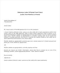 Reference Letter Rental From Friend