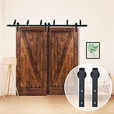 tcbunny 6 6 ft byp double door sliding barn door hardware black j shape hangers