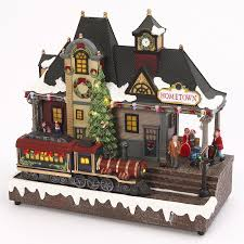 Department 56 City Lights Christmas Trimmings Led Lighted Musical Train Station With Animated Moving Train