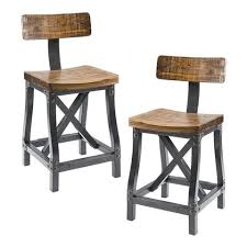 industrial metal and wood furniture. Industrial Rustic Acacia Wood And Metal Dining Chairs With Back - Set Of 2 Furniture S