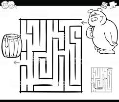 Doolhof Met Beer Kleurplaat Pagina Stockvectorkunst En Meer Beelden