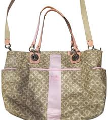 Coach Large Satin Pink Gray Diaper Bag ...