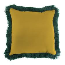 jordan manufacturing sunbrella canvas maize square outdoor throw pillow with forest green fringe