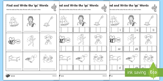 Activity worksheets for beginner phonics books. Find And Write Qu Words Phonics Worksheets Teacher Made