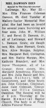 Etta Dawson Obituary - Newspapers.com