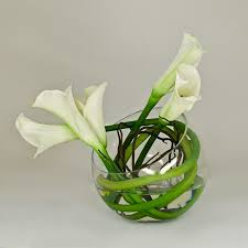 white calla lily round glass vase beautiful blooms pinterest