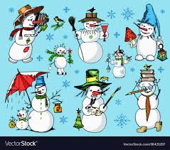 Holidays Snowman Set Of Winter Holidays Snowman In Different Vector Image