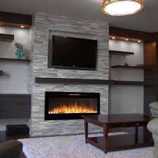 Modern Electric Fireplace with TV above