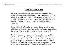 essays on the poem dulce et decorum est dulce et decorum est by wilfred owen essays 1369 words bartleby
