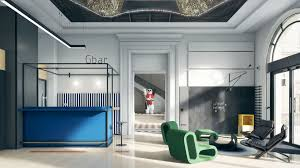 office lobby designs. Blue Bar With Black Metal Frame And Green Lounge Armchairs In Front Of The Chalkboard Wall Office Lobby Designs