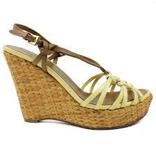 details about prada yellow brown patent leather open toe platform sandal wedges heels sz 37 5