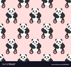 cute panda on pink background vector image
