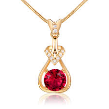 details about ribbon pendant yellow gold filled ruby red crystal women lady jewelry necklace
