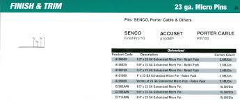 senco 23 gauge micro pin nailer cross reference