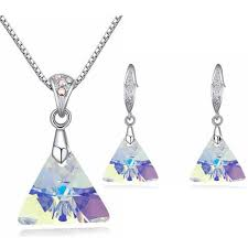 2019 whole original crystal from swarovski jewelry sets triangle pendant necklaces earrings for women party gifts costume from wedding163