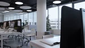 modern open plan interior office space. Tracking Shot Of Empty Open Space Office With Stylish Interior, Panoramic Window, Comfortable Furniture Modern Plan Interior