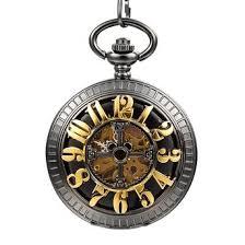 cheap pocket watch luxury pocket watch luxury deals on line get quotations · mudder luxury men black chain hand wind half hunter vintage pocket watch mechanica
