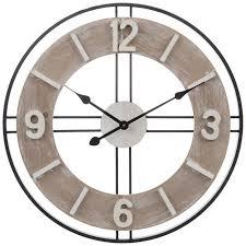 get whitewash black metal wall clock
