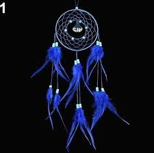 bluelans hollow net dream catcher beads feather tassel ornament car wall hanging decor royal blue