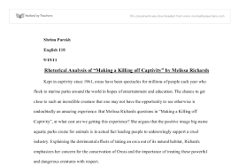 essay on brian keenan s an evil cradling a level english  rhetorical analysis of making a killing off captivity by melissa richards