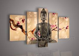 Framed abstract buddha wall art paintings for living room 5 piece cheap  modern wall art home