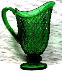 depression glass pitcher green