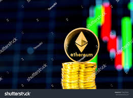 Stack Ether Coins Price Chart Background Stock Photo Edit