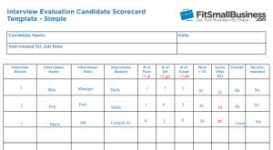 Evaluation Chart Sample 11 Free Interview Evaluation Forms Scorecard Templates