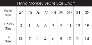 Womens Jeans Size Chart Flying Monkey Jeans Size Conversion Chart Within Womens Jean