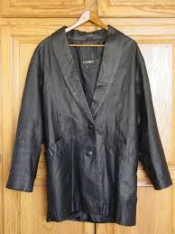 details about comint womens black leather coat jacket size large 32 1 2 long lined 2 on
