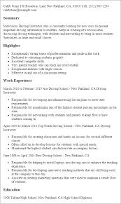 1 Driving Instructor Resume Templates Try Them Now Myperfectresume