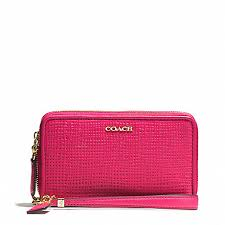 COACH f62191 MADISON DOUBLE ZIP PHONE WALLET IN EMBOSSED LEATHER LIGHT  GOLD PINK RUBY